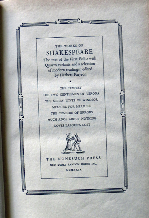 Image for Works, the Text of the First Folio with Quarto Variants and a Selection of Modern Readings