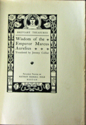Image for Wisdom of the Emperor Marcus Aurelius Translated by Jeremy Collier