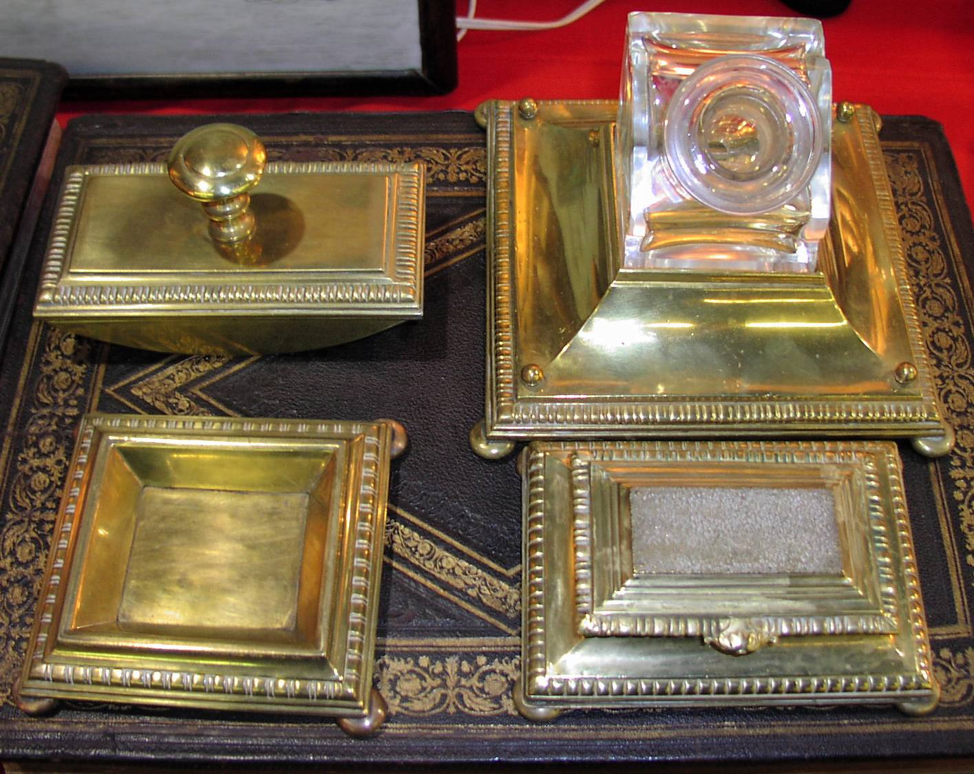 Image for 19C. Brass & Crystal Desk Set.,