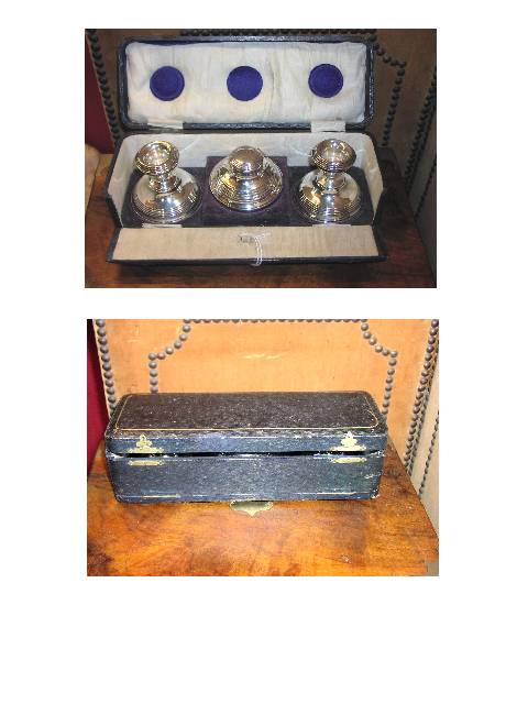 Image for Sterling Inkwell & Candlesticks, Boxed